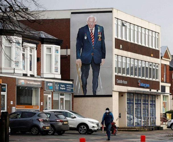 PHOTO: A mural of Captain Sir Tom Moore is seen on a building in Southport, Britain, Feb. 3, 2021. (Phil Noble/Reuters)