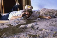 "<p>Director Steven Spielberg used <a href=""https://www.mentalfloss.com/article/55963/20-adventurous-facts-about-raiders-lost-ark"" rel=""nofollow noopener"" target=""_blank"" data-ylk=""slk:scale miniature versions"" class=""link rapid-noclick-resp"">scale miniature versions</a> of the movie's more elaborate sets to block scenes, which helped him stay on budget and keep up the pace of filming.</p>"