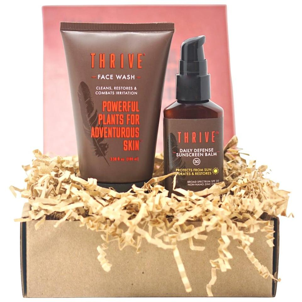 <p>For simple, natural products, look no further than the <span>Thrive Care Daily Defense Kit</span> ($36). It covers the two most basic skin-care steps, cleansing and moisturizing, with a full-size face wash and moisturizer with SPF.</p>