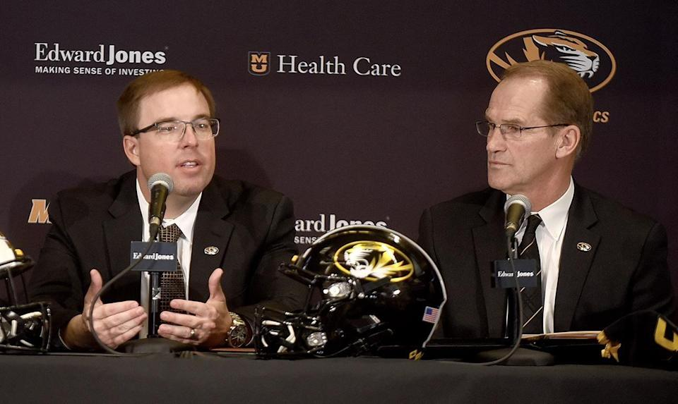 Missouri head football coach Eliah Drinkwitz, left, answers questions from the media alongside athletic director Jim Sterk on Dec. 10 at the Show-Me Club in the South End Zone facility at Memorial Stadium.