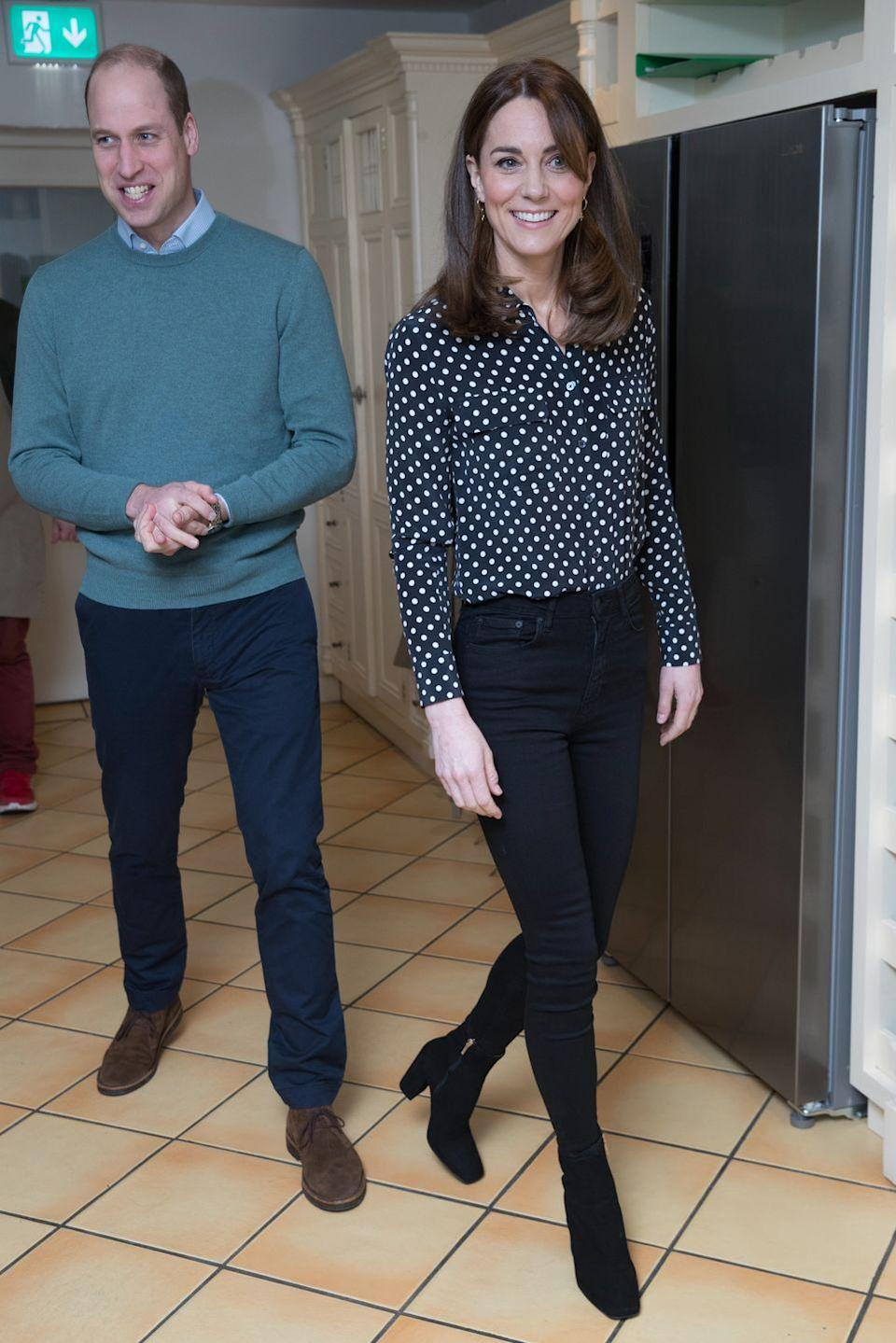"""<p>Kate wore a black and white polka dot Equipment blouse (shop it <a href=""""https://go.redirectingat.com?id=74968X1596630&url=https%3A%2F%2Fwww.shopbop.com%2Fslim-signature-blouse-equipment%2Fvp%2Fv%3D1%2F1573086384.htm%3Fgclid%3DCj0KCQiAwP3yBRCkARIsAABGiPop3wYaPYcp5n-przPOBRHqnLAnOhdfXzQbXB0HzgXMK4WyJwJtJ8MaApHeEALw_wcB%26currencyCode%3DUSD%26extid%3DSE_froogle_SC_usa%26extid%3Daffprg_linkshare_SB-TnL5HPStwNw%26cvosrc%3Dcse.google.EQUIP41183%26cvosrc%3Daffiliate.linkshare.TnL5HPStwNw%26cvo_campaign%3DSB_Google_USD%26ef_id%3DCj0KCQiAwP3yBRCkARIsAABGiPop3wYaPYcp5n-przPOBRHqnLAnOhdfXzQbXB0HzgXMK4WyJwJtJ8MaApHeEALw_wcB%253AG%253As%26affuid%3D74968X1524972Xfe6e186d3e29a9833f4a1bd3ac0908bc%26sharedid%3D42352%26subid1%3DTnL5HPStwNw-adkVnSMpm.k3qN5.0hA4aw&sref=https%3A%2F%2Fwww.townandcountrymag.com%2Fstyle%2Ffashion-trends%2Fnews%2Fg1633%2Fkate-middleton-fashion%2F"""" rel=""""nofollow noopener"""" target=""""_blank"""" data-ylk=""""slk:here"""" class=""""link rapid-noclick-resp"""">here</a>) to visit Savannah House, a charity residential facility in County Meath, Ireland. She paired the blouse with black skinny jeans and heeled booties and topped off the look with a <a href=""""https://www.townandcountrymag.com/society/tradition/a31222370/kate-middleton-white-coat-prince-william-jigsaw-ireland-photos/"""" rel=""""nofollow noopener"""" target=""""_blank"""" data-ylk=""""slk:cream Reiss coat"""" class=""""link rapid-noclick-resp"""">cream Reiss coat</a>. </p>"""