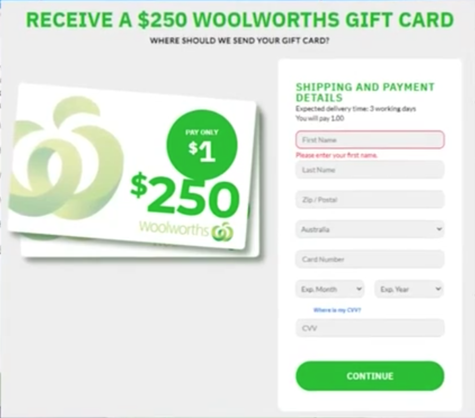 An example of a scam email claiming to be from Woolworths.