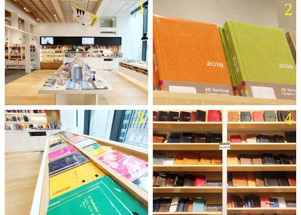 1) A wide variety of schedule books, notebooks, and accessories 2) the original Itoya Diary in A6 for 1,600 yen 3) a corner dedicated to Rollbahn notebooks, a popular brand in Japan 4) an abundant choice of notebooks with a leather cover