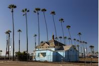 <p>This charming little 500 square foot cottage was the set where Maverick, played by Tom Cruise, waited on the porch after he's late for dinner with Charlie. The house even has large photos from the movie on the exterior of it. Fans can easily grab a snap of the home. </p><p>102 N Pacific St Oceanside, CA 92054</p>