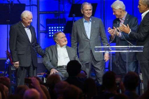 George H.W. Bush (seated) is the oldest of the United States' five living former presidents
