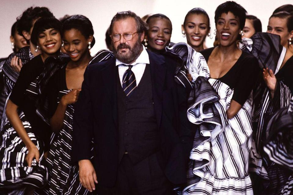 <p>Designer Gianfranco Ferré and models at the Christian Dior spring 1990 ready-to-wear show. </p>