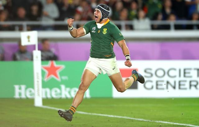 """<span class=""""element-image__caption"""">Cheslin Kolbe celebrates scoring South Africa's second try.</span> <span class=""""element-image__credit"""">Photograph: Dan Mullan/Getty Images</span>"""