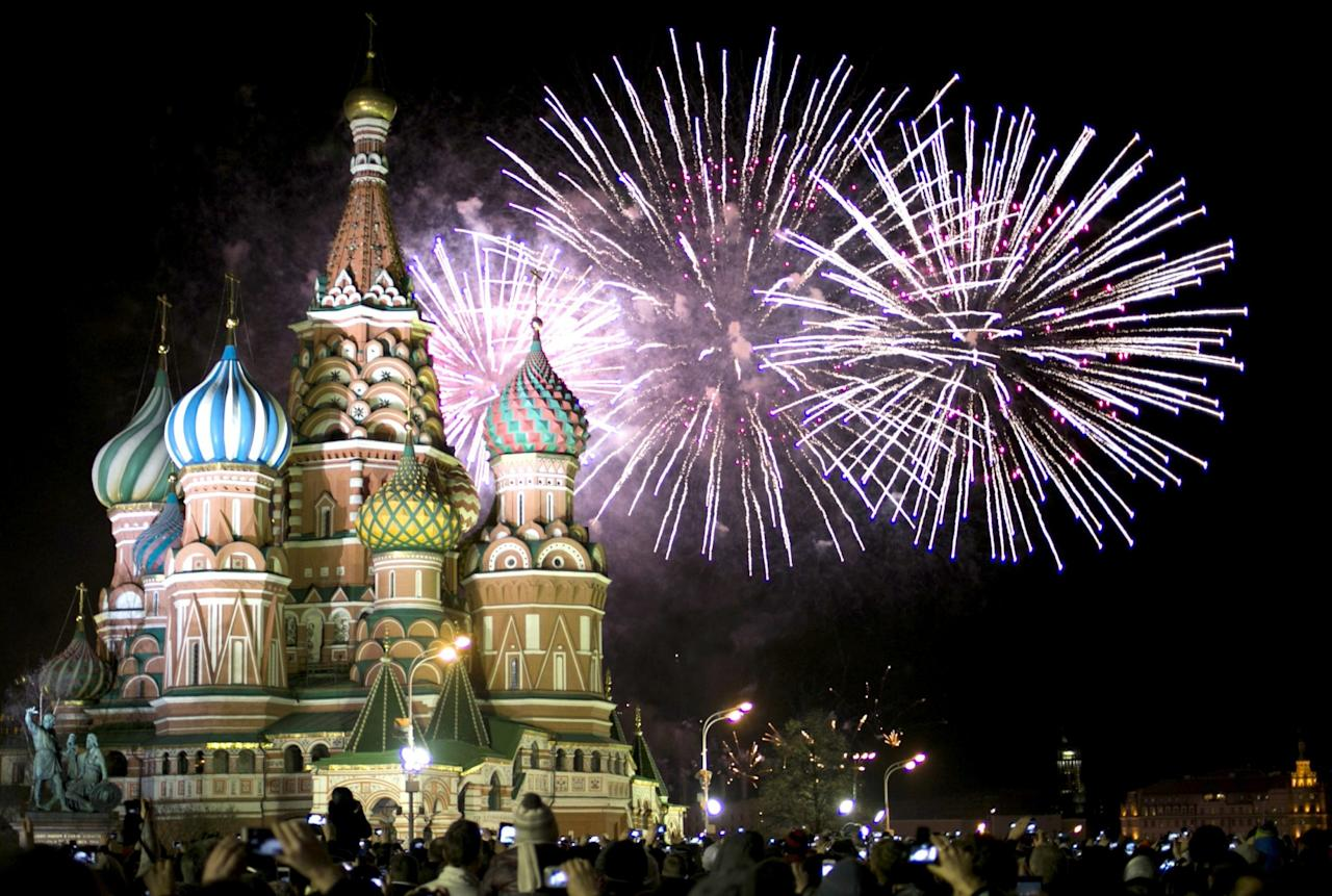 <p>Fireworks display for new year's eve from Moscow. Photo from The Canadian Press </p>