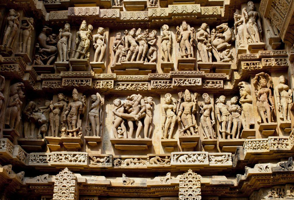 The famous erotic figures of Khajuraho's temples depict heavenly beauties making love in different Kamasutra positions.