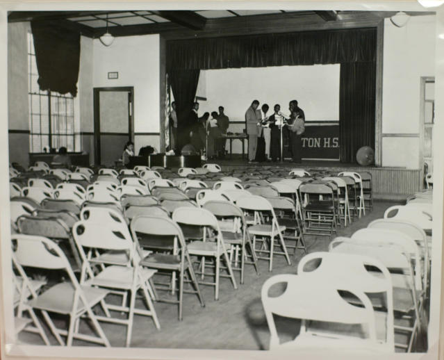 An original photo of the Robert Russa Moton High School auditorium used by the defense in the Brown v. Board of Education on display at the National Archives Wednesday, April 14, 2004, in Washington. In marking the 50th anniversary of Brown v. Board of Education the National Archives is displaying documents used in this landmark case.(AP Photo/Lawrence Jackson)