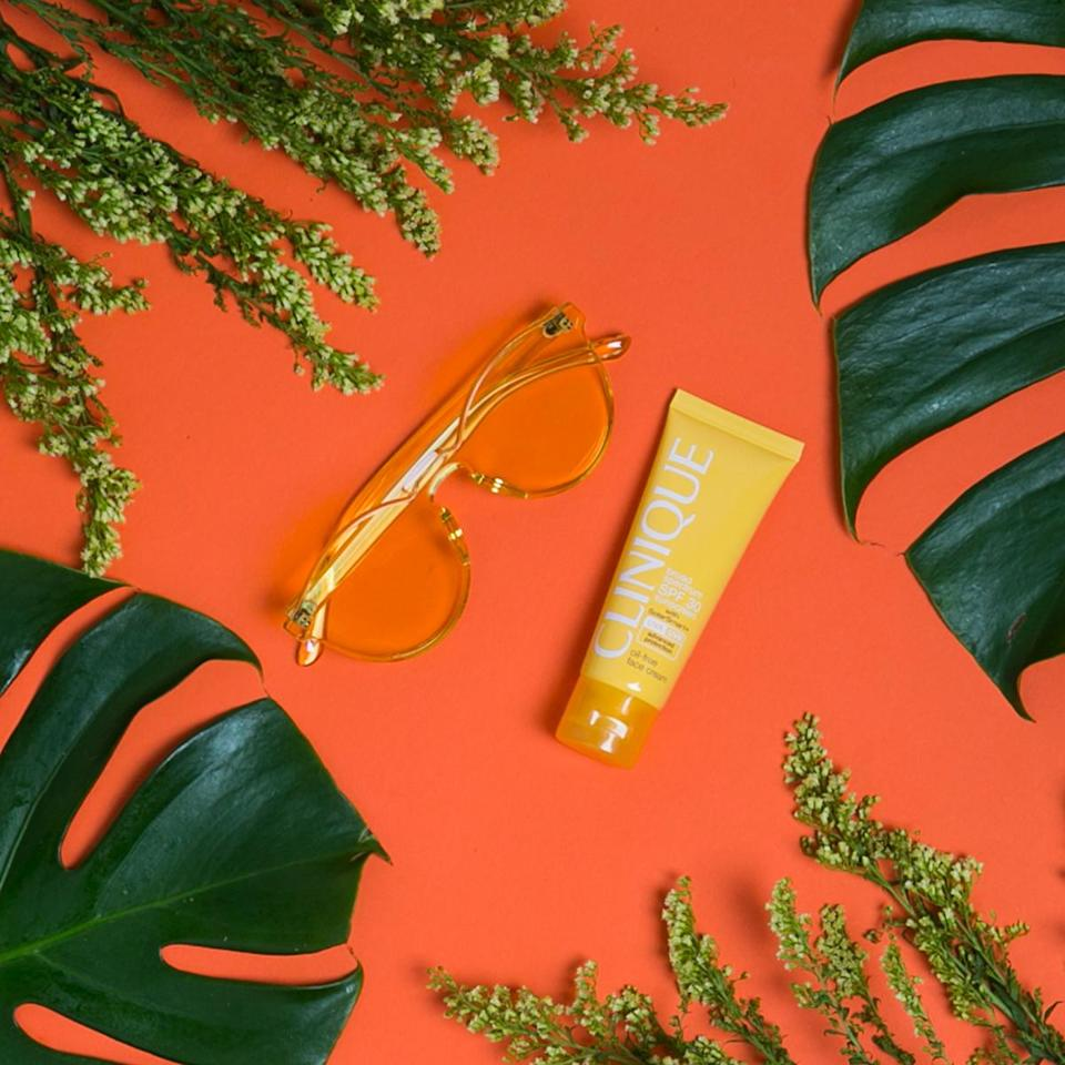 """<p>Rumba Spring Sunglasses in Sunshine Yellow, $40, <a rel=""""nofollow noopener"""" href=""""https://rumbatime.com/collections/spring-sunglasses/products/spring-sunglasses-sunshine"""" target=""""_blank"""" data-ylk=""""slk:Rumba Sunglasses"""" class=""""link rapid-noclick-resp"""">Rumba Sunglasses</a><br> Clinique Broad Spectrum SPF 30 Suncreen Oil-Free Face Cream, $26.50, <a rel=""""nofollow noopener"""" href=""""http://www.clinique.com/product/1660/48282/sun/sun-self-tanners/broad-spectrum-spf-30-sunscreen-oil-free-face-cream"""" target=""""_blank"""" data-ylk=""""slk:clinique.com"""" class=""""link rapid-noclick-resp"""">clinique.com</a><br>(Photo: Casey Hollister for Yahoo Style) </p>"""