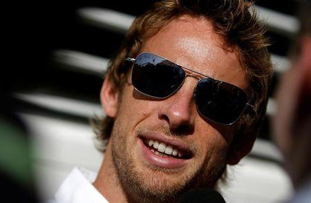 Brawn GP Formula One driver Button of Britain speaks to the media at the Hungaroring circuit near Budapest