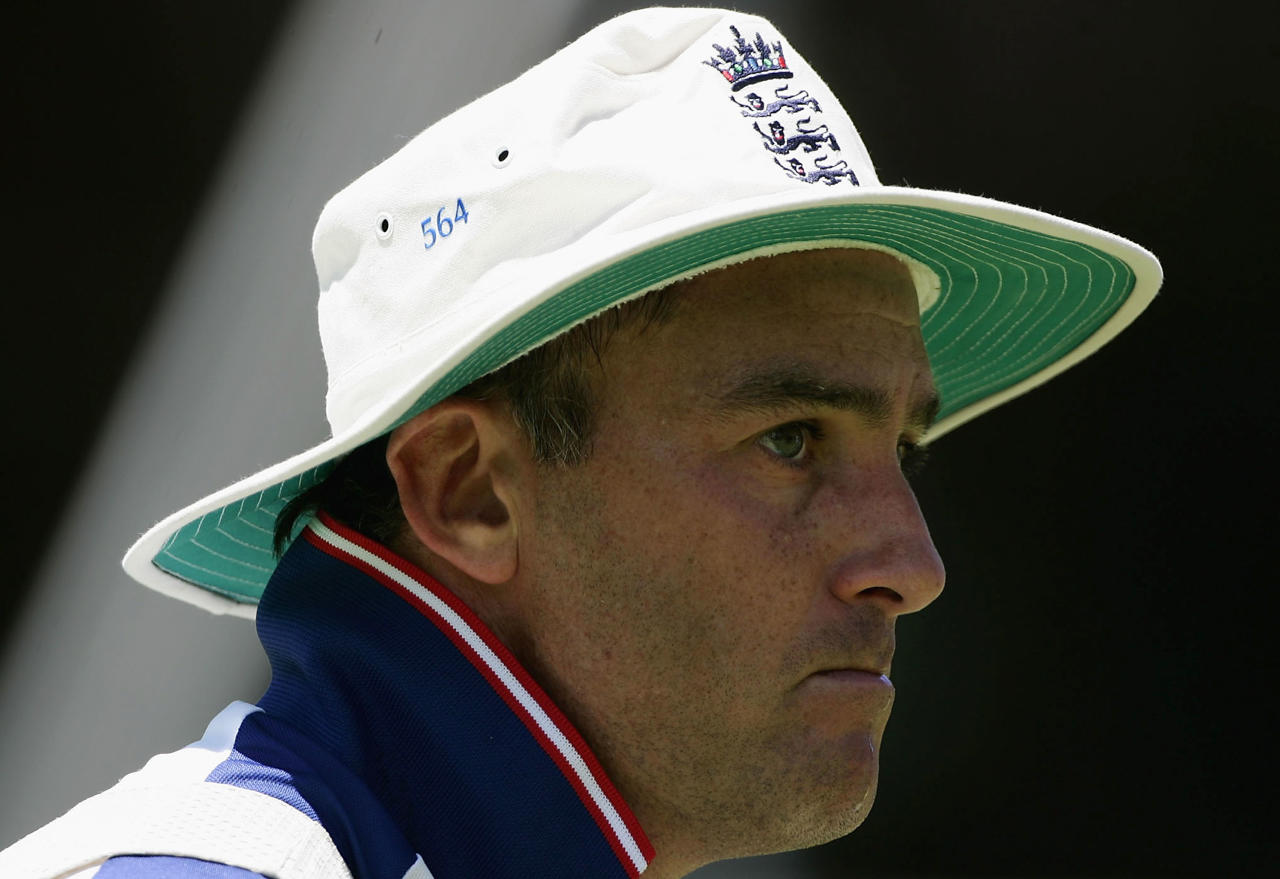 CAPE TOWN, SOUTH AFRICA - JANUARY 1: Graham Thorpe of England looks on during a training session prior to the third Test Match between South Africa and England at Newlands cricket stadium on January 1, 2005 in Cape Town, South Africa. (Photo by Paul Gilham/Getty Images)