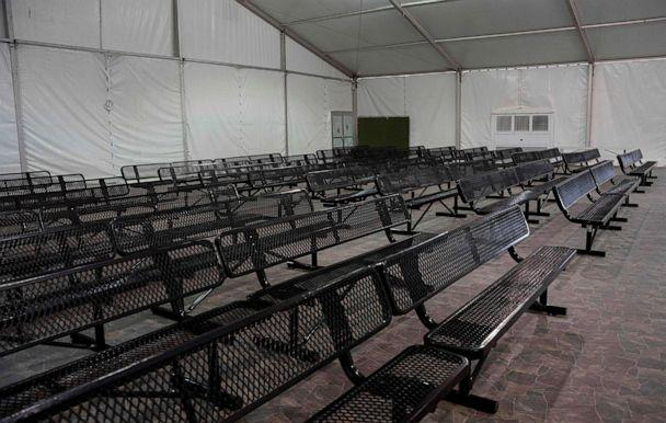 PHOTO: TThe intake area for migrants waiting to be processed at the new temporary holding facility opened by Customs and Border Protection in El Paso, Texas, May 2, 2019. (Paul Ratje/AFP/Getty Images)