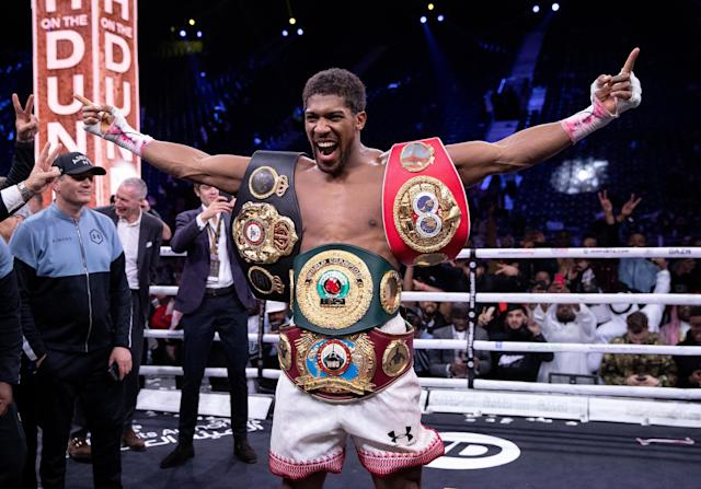 IBF-WBA-WBO heavyweight champion Anthony Joshua will defend his belts in a mandatory defense against Kubrat Pulev on June 20. (Richard Heathcote/Getty Images)