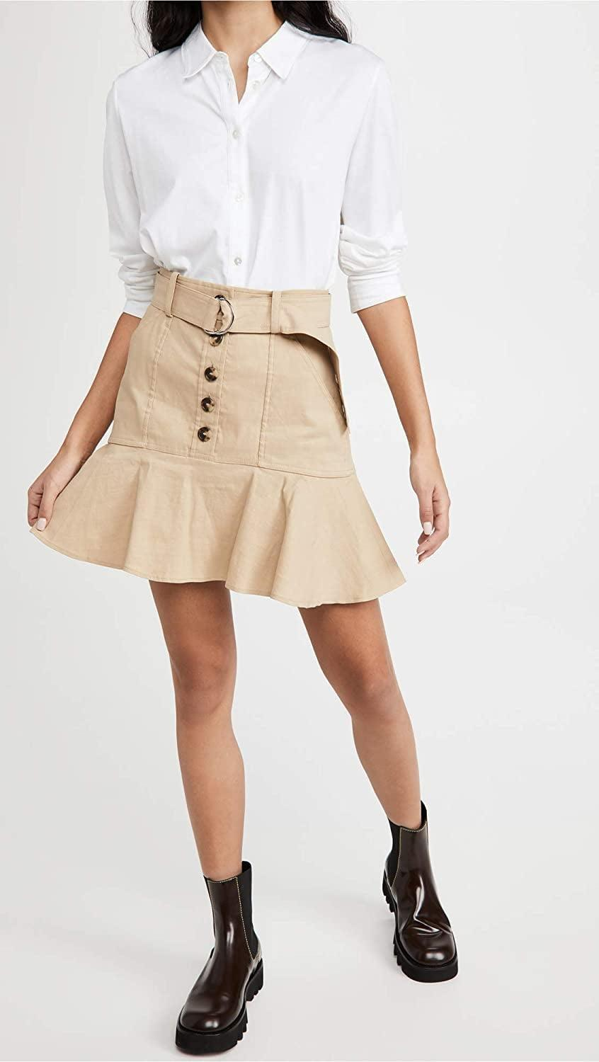 <p>The belt and ruffle details on this <span>A.L.C. Miley Skirt</span> ($277) make it feel more elevated.</p>