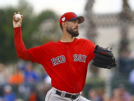 Mar 20, 2019; Sarasota, FL, USA; Boston Red Sox starting pitcher Rick Porcello (22) throws a pitch during the first against the Baltimore Orioles inning of a game at Ed Smith Stadium. Mandatory Credit: Butch Dill-USA TODAY Sports