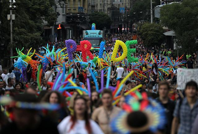 <p>Revellers take part in the annual Sofia Pride parade in Sofia, Bulgaria, June 9, 2018. (Photo: Stoyan Nenov/Reuters) </p>