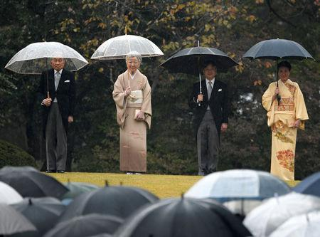 FILE PHOTO : (L to R) Japan's Emperor Akihito, Empress Michiko, Crown Prince Naruhito and Crown Princess Masako attend an autumn garden party at Akasaka Palace Imperial garden in Tokyo, Japan November 9, 2018.  Kazuhiro Nogi/Pool via REUTERS/File Photo