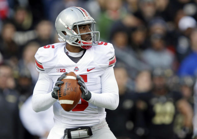Ohio State quarterback Braxton Miller prepares to throw a pass against Purdue during the first half of an NCAA college football game in West Lafayette, Ind., Saturday, Nov. 2, 2013. (AP Photo/Michael Conroy)