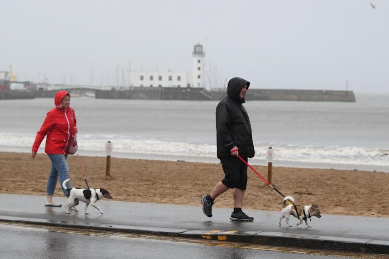 Owners take their dogs for a walk along the sea front (PA)