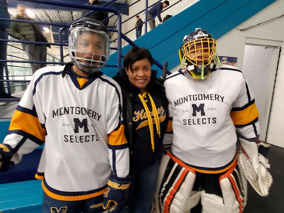 Brandon (left) and Landon (right) played for Montgomery in the CBHL before moving to the Frederick club. Here they pose with their mother, Cleo.