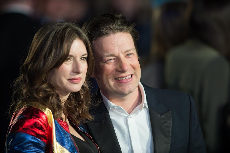 Jools Oliver and Jamie Olive arrrive for the European premiere of 'Eddie The Eagle' at Odeon Leicester Square on March 17, 2016 in London, England.  (Photo by Samir Hussein/WireImage)