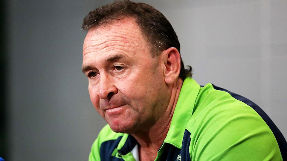 Canberra coach Ricky Stuart is seen here fronting the media.
