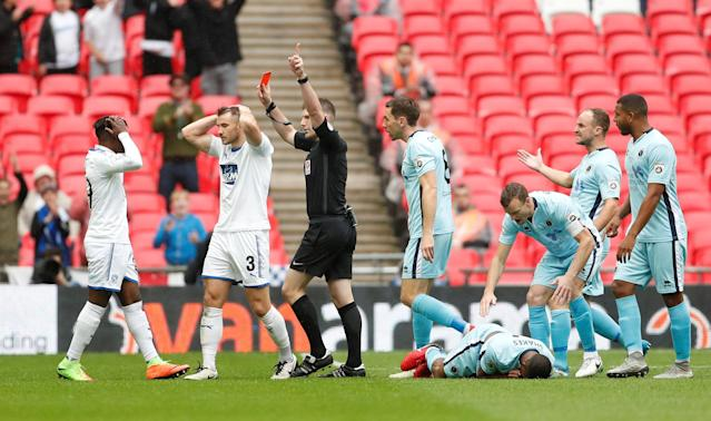 Soccer Football - National League Promotion Final - Tranmere Rovers v Boreham Wood - Wembley Stadium, London, Britain - May 12, 2018 Tranmere Rovers' Liam Ridehalgh is sent off Action Images/Matthew Childs