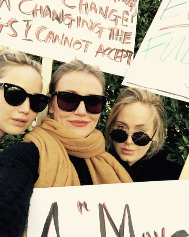 "<p>Now that's a female force you do not want to mess with! ""The most influential people in my life have always been women,"" the singer wrote, as she stood alongside friends Jennifer Lawrence and Cameron Diaz at the Women's March on Saturday. ""My family, my friends, my teachers, my colleagues, and my idols. I am obsessed with all the women in my life. I adore them and need them more and more every day. I am so grateful to be a woman, I wouldn't change it for the world. I hope I'm not only defined by my gender though. I hope I'm defined by my input to the world, my ability to love and to have empathy. To raise my son to be a a good man alongside the good man who loves me for everything I am and am not. I want what's best for people, I think we all do. We just can't agree on what that is. Power to the peaceful, power to the people."" (Photo: <a href=""https://www.instagram.com/p/BeL7Jr7lrnG/?taken-by=adele"" rel=""nofollow noopener"" target=""_blank"" data-ylk=""slk:Adele via Instagram"" class=""link rapid-noclick-resp"">Adele via Instagram</a>) </p>"