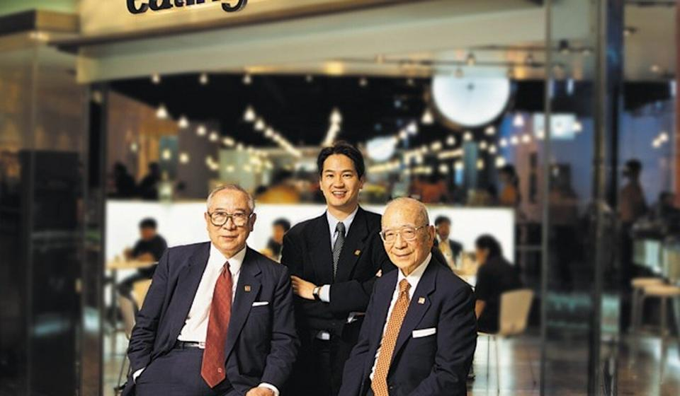 Michael Wu Wei-kuo with his grandfather, the late ST Wu, and great uncle James Wu who passed away aged 98 last month. Photo: SCMP