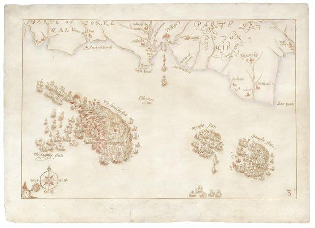 One of a collection of rare maps charting the defeat of the Spanish Armada (DCMS/PA)