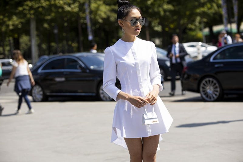 PARIS, FRANCE - JULY 02: Jaime Xie, wearing Alexander McQueen white dress, Jacquemus white bag and Chanel sunglasses, is seen outside Chanel show during Paris Fashion Week - Haute Couture Fall Winter 2019 - 2020 on July 02, 2019 in Paris, France. (Photo by Claudio Lavenia/Getty Images)