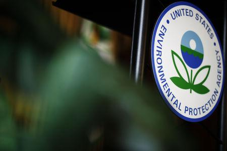 The U.S. Environmental Protection Agency (EPA) sign is seen on the podium at EPA headquarters in Washington