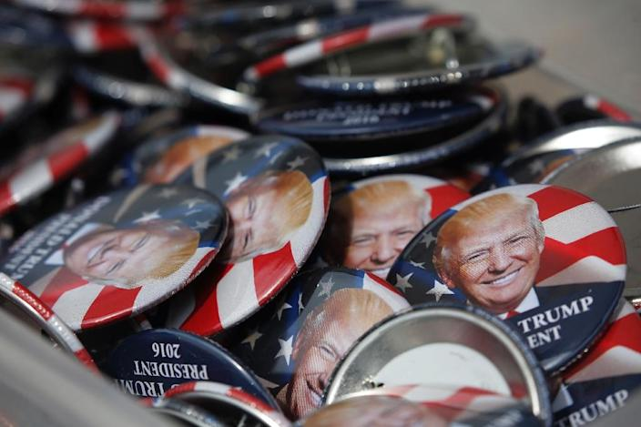 Donald Trump souvenir badges on display at the Republican National Convention in Cleveland, Ohio (AFP Photo/Dominick Reuter)
