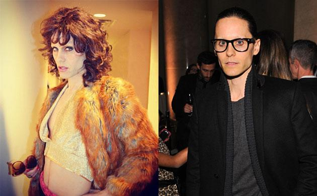 "Jared Leto in character for ""The Dallas Buyers Club"" (left) and Leto at the Gotham Independent Film Awards (right)"