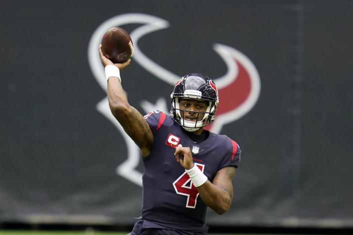 """FILE - In this Dec. 27, 2020, file photo, Houston Texans quarterback Deshaun Watson throws a pass during an NFL football game against the Cincinnati Bengals in Houston. One of the 22 women who have filed lawsuits accusing Watson of sexual assault and harassment has dropped her case, citing privacy and security concerns after some of the women were ordered to make their names public following court hearings recently. In court documents filed late Tuesday, April 13, 2021, the woman's attorney, Tony Buzbee, said she """"reserves the right to refile the case once such concerns are addressed."""" (AP Photo/Matt Patterson, File)"""