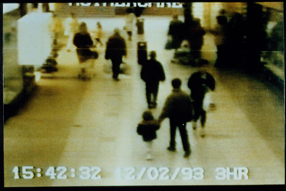 Supermarket monitoring camera video: James Bulger holding the hand of one of his murderers. (Photo by Mathieu Polak/Sygma/Sygma via Getty Images)