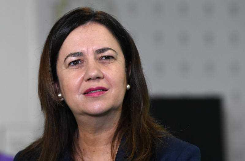 Queensland Premier Annastacia Palaszczuk is seen during a visit to the Surgical, Treatment and Rehabilitation Service (STARS) at Herston in Brisbane.
