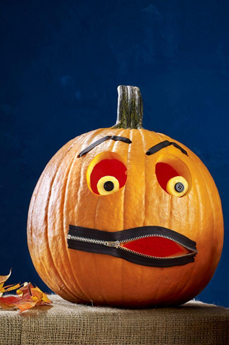 """<p>Hollow out medium round pumpkin from the bottom. Carve two oval eyes, then cut two smaller circles from leftover rind for pupils. Etch away skin on each pupil using a linoleum cutter, attach black button with pin on top and secure to pumpkin with toothpick. </p><p>For eyebrows, use awl to poke three holes above each eye as shown. Push a length of <a href=""""https://www.amazon.com/Creative-Ideas-8-Inch-Grosgrain-50-Yard/dp/B005E1S55W?tag=syn-yahoo-20&ascsubtag=%5Bartid%7C10070.g.950%5Bsrc%7Cyahoo-us"""" rel=""""nofollow noopener"""" target=""""_blank"""" data-ylk=""""slk:¼&quot;-wide black ribbon"""" class=""""link rapid-noclick-resp"""">¼""""-wide black ribbon</a> through left hole; knot inside to secure, then thread through holes and knot to close. </p><p>Repeat for right eyebrow. For mouth, unzip <a href=""""https://www.amazon.com/WKXFJJWZC-Zippers-Tailor-Crafters-FGDQRS/dp/B01M9JPJ6V/?tag=syn-yahoo-20&ascsubtag=%5Bartid%7C10070.g.950%5Bsrc%7Cyahoo-us"""" rel=""""nofollow noopener"""" target=""""_blank"""" data-ylk=""""slk:zipper"""" class=""""link rapid-noclick-resp"""">zipper</a> a little more than halfway. Use black pushpins or silver straight pins (color heads with black permanent marker) to attach zipper, shaping mouth opening. Trace inside open part of zipper with highlighter. Unpin to carve mouth, then repin in place.</p><p><a class=""""link rapid-noclick-resp"""" href=""""https://www.amazon.com/Separating-Jacket-Zipper-Zippers-Jackets/dp/B0823QP5ML?tag=syn-yahoo-20&ascsubtag=%5Bartid%7C10070.g.950%5Bsrc%7Cyahoo-us"""" rel=""""nofollow noopener"""" target=""""_blank"""" data-ylk=""""slk:SHOP ZIPPERS"""">SHOP ZIPPERS</a></p>"""
