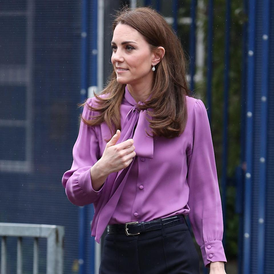 Is Kate Middleton Wearing Her Purple Gucci Blouse Backward? Fans Are Convinced