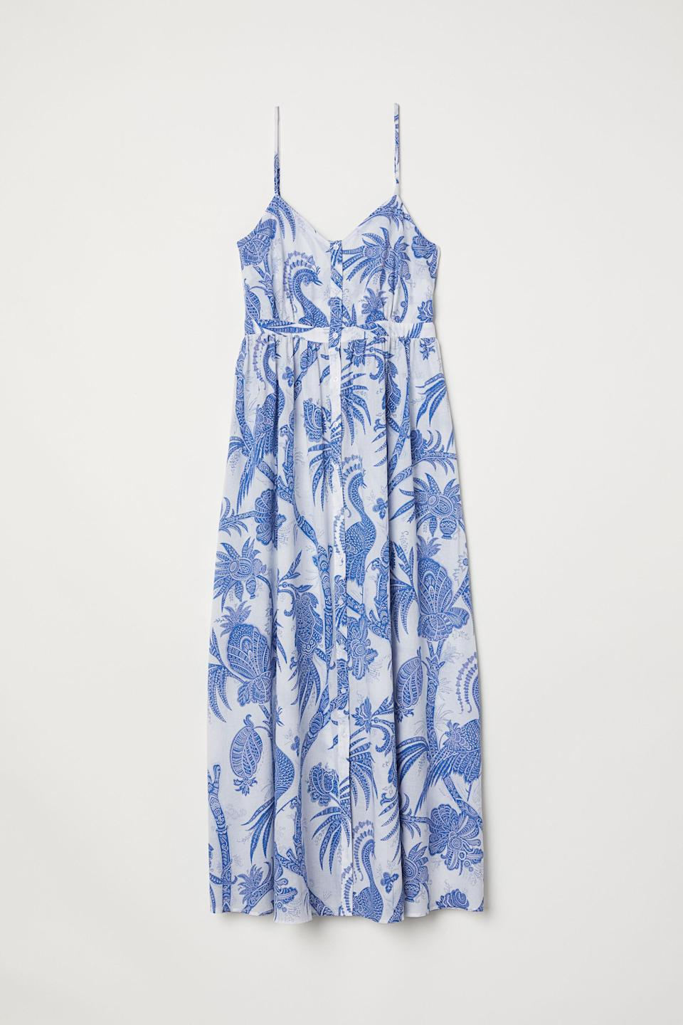 "<p><span>No summer wardrobe is complete without a floaty maxi, and just look at this tropical print H&M number.</span><br><em><a href=""http://www2.hm.com/en_gb/productpage.0681246004.html"" rel=""nofollow noopener"" target=""_blank"" data-ylk=""slk:Buy here."" class=""link rapid-noclick-resp""><span>Buy here.</span></a></em> </p>"