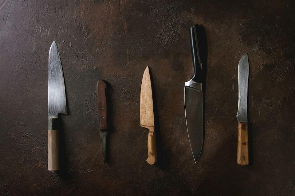 """<p>Everyone from casual cooks to professional chefs knows the value of a good kitchen knife. Vintage knives are selling for upwards of $2,000 on<a href=""""https://go.redirectingat.com?id=74968X1596630&url=https%3A%2F%2Fwww.ebay.com%2Fb%2FVintage-Chef-Knife%2F11660%2Fbn_55193743%3Frt%3Dnc%26_sop%3D16&sref=https%3A%2F%2Fwww.goodhousekeeping.com%2Flife%2Fg35334508%2Fvaluable-antiques-basement%2F"""" rel=""""nofollow noopener"""" target=""""_blank"""" data-ylk=""""slk:eBay"""" class=""""link rapid-noclick-resp""""> eBay</a>, with handmade cutting tools and those with carbon blades highly prized. But even if your old kitchen knife isn't worth anything, you can give it new life by visiting a knife sharpener in your city.</p>"""