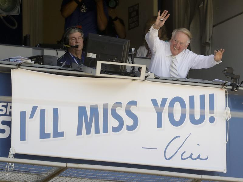 They're still thinking about Vin Scully at Dodger Stadium. (AP)