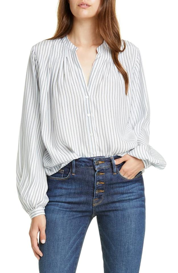 """<p>Silk blouses are endlessly versatile as the piece that lends easy sophistication to Summer shorts or Fall denim. Take them to work, and wear them breezily and not so buttoned up on weekends. In any color and nearly any cut, the silky blouse has modern femininity written all over it.</p> <p><a href=""""https://www.popsugar.com/buy/FRAME-Pleated-Stripe-Silk-Blouse-482527?p_name=FRAME%20Pleated%20Stripe%20Silk%20Blouse&retailer=shop.nordstrom.com&pid=482527&price=350&evar1=fab%3Aus&evar9=36278178&evar98=https%3A%2F%2Fwww.popsugar.com%2Ffashion%2Fphoto-gallery%2F36278178%2Fimage%2F46522246%2FSilk-Blouse&list1=shopping%2Cfall%20fashion%2Cfall%2Cstyle%20how%20to&prop13=api&pdata=1"""" rel=""""nofollow"""" data-shoppable-link=""""1"""" target=""""_blank"""" class=""""ga-track"""" data-ga-category=""""Related"""" data-ga-label=""""https://shop.nordstrom.com/s/frame-pleated-stripe-silk-blouse/5362699?origin=keywordsearch-personalizedsort&amp;breadcrumb=Home%2FAll%20Results&amp;color=powder%20multi"""" data-ga-action=""""In-Line Links"""">FRAME Pleated Stripe Silk Blouse</a> ($350)</p>"""