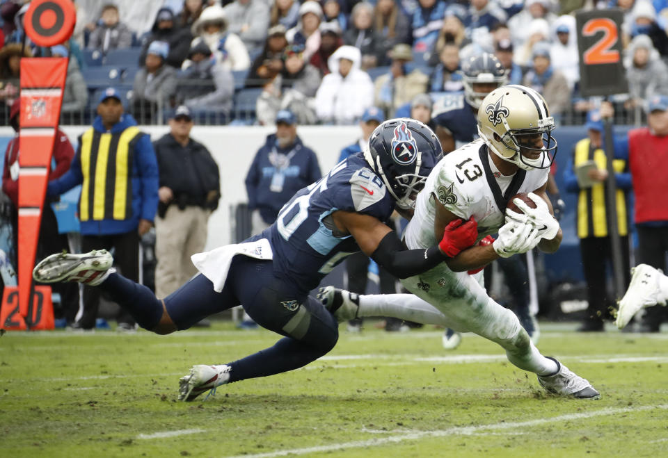 Michael Thomas of the New Orleans Saints is the NFL's new single-season catches king. (Frederick Breedon/Getty Images)
