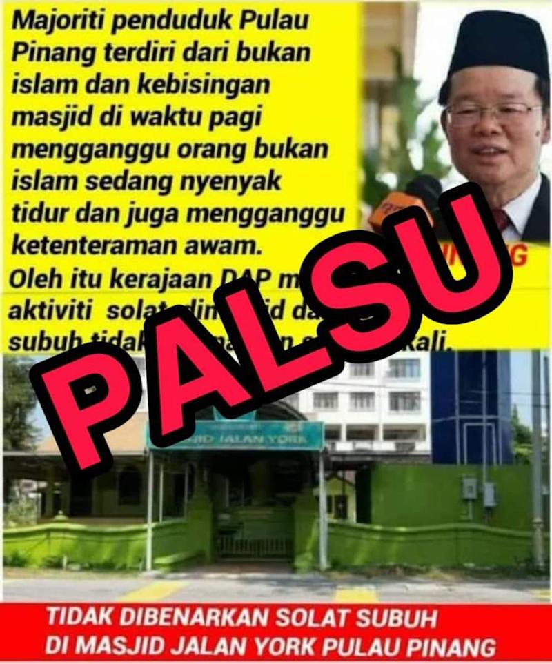 The Penang Chief Minister's Office has lodged a police report against this false statement that was spread on social media over the last two days.