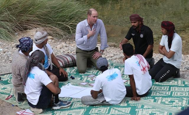 William talking to some of the teenagers about the challenges facing Oman