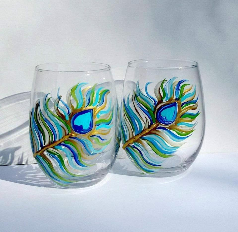 <p>These handpainted <span>Atkinson Creations 2 Peacock Feather Painted Stemless Wine Glasses</span> ($35) are a gorgeous addition to your wine glass collection. </p>