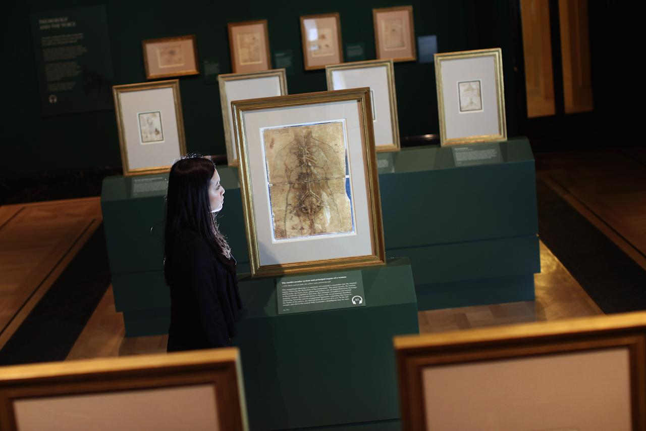 LONDON, ENGLAND - APRIL 30:  Hanae Tsuji poses next to a drawing of a drawing by Leonardo da Vinci of a woman's Cardiovascular system dated 1509-10, which makes up part of a new exhibition entitled 'Anatomist,' by Leonardo Da Vinci at Queen's Gallery on April 30, 2012 in London, England. The exhibition is the largest collection ever of the artists studies of the human body, and will show at Queen's gallery from May 4 - October 7, 2012.  (Photo by Dan Kitwood/Getty Images)